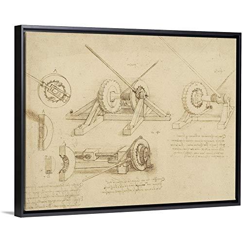 - Leonardo da Vinci Floating Frame Premium Canvas with Black Frame Wall Art Print Entitled Winch, Great Spring Catapult and Ladder from Atlantic Codex 40