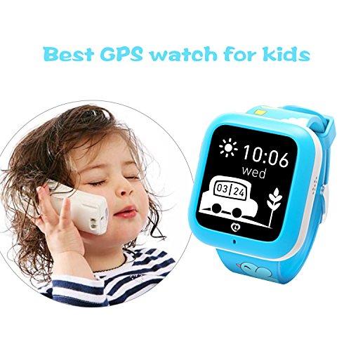 Misafes Unisex kinder Smart Uhr Sport Monitor GPS Tracker Digitaluhr Babyphone Baby Telefon Handy (SIM-Karte ist nicht enthalten) (Bleu-neue)