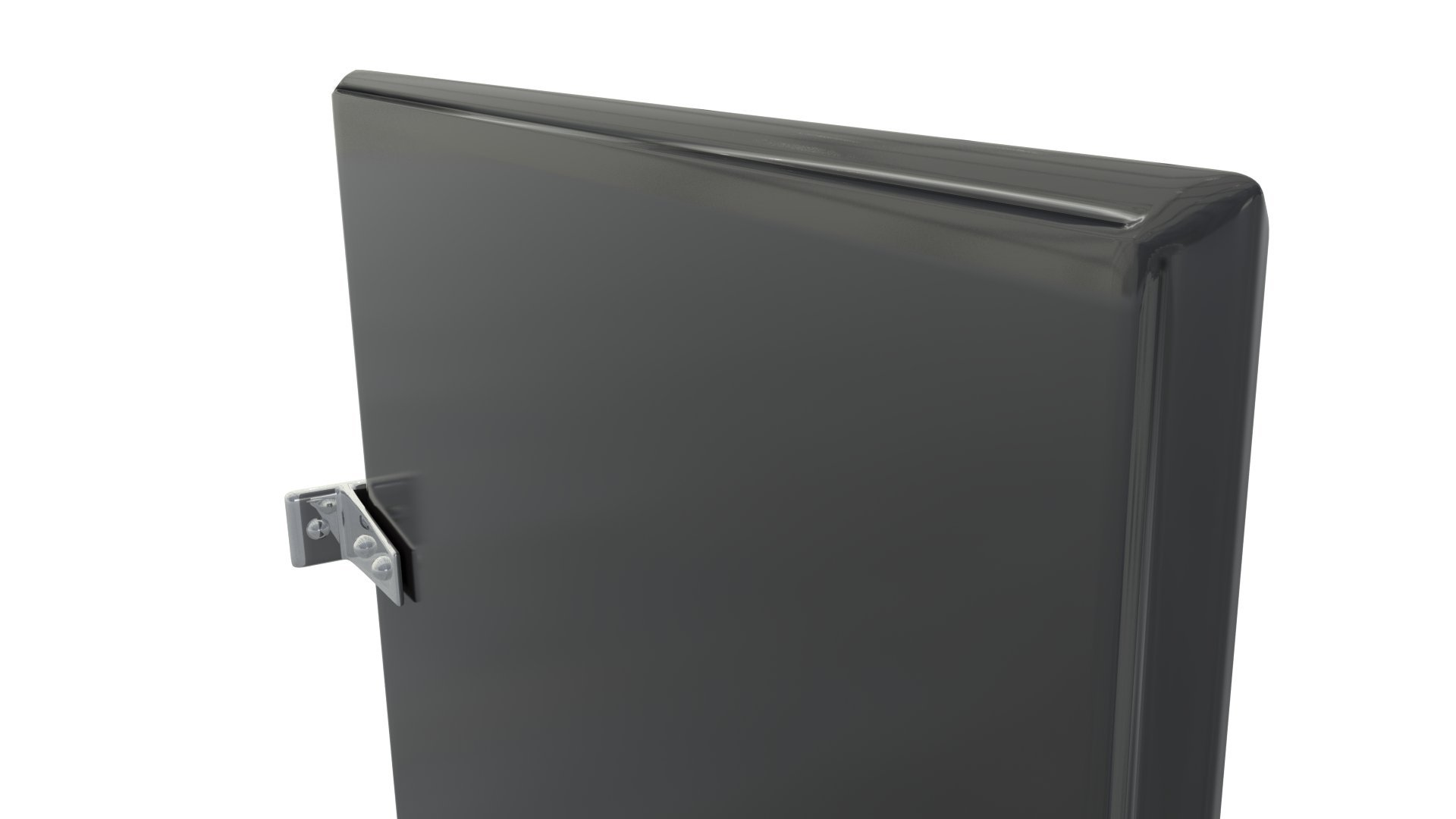 Powder Coated Urinal Stall Partition Divider Screen With Wall Hung Mounting Brackets Kit (Black)