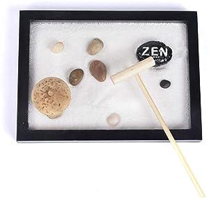 FULCLOUD Japanese Desktop Meditation Zen Garden Office Tabletop Rock Sand Garden Rake Tools Kit Tray Accessories Incense Holder Meditating Statue Sandbox Home Table Decor Gifts (C-5.94.30.3inch)