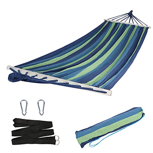 Swing Outdoor Bars - Anyoo Garden Hammock with Wooden Spread Bars Portable Compact Single Hammock with Travel Bag Perfect for Patio Yard Outdoors