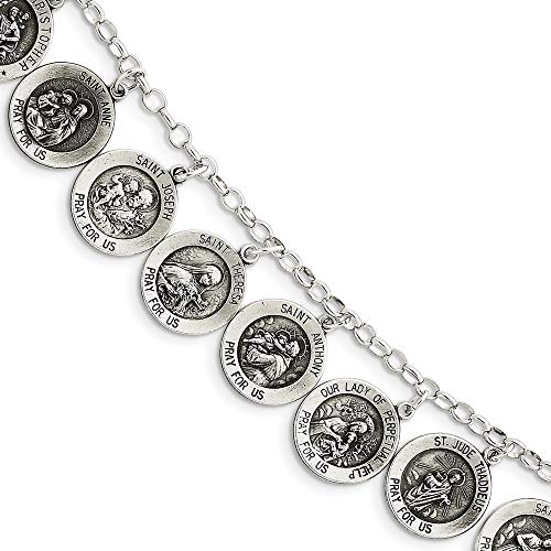 - 925 Sterling Silver 12 Saints Bracelet 7 Inch Religious Fine Jewelry Gifts For Women For Her