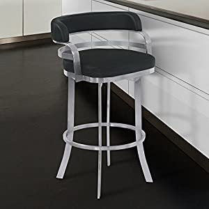 "Armen Living Prinz 26"" Counter Height Swivel Barstool in Black Faux Leather and Brushed Stainless Steel Finish"