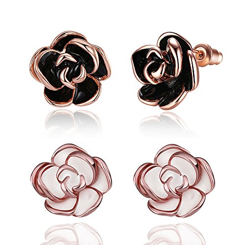 BoBoDeng 2 Pairs Pack White / Black Rose Gold Plated Flower Stud Earrings for Women Girls Gift
