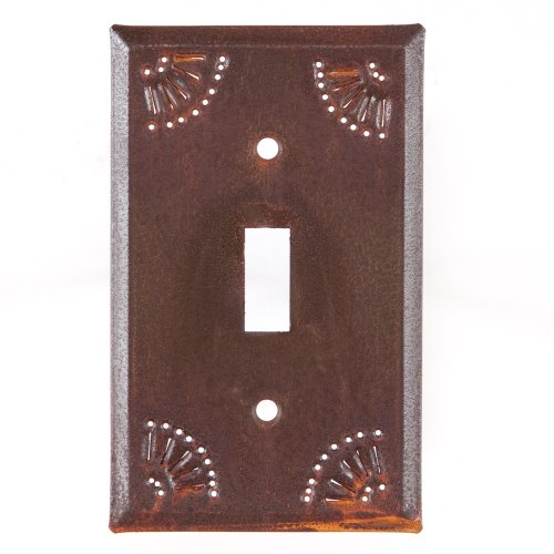 Pierced Country Tin Single Toggle Switch Plate in Rustic -