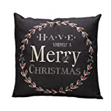 """18"""" x 18"""" Vintage Christmas Letter Pillow Case,Linen Blend Sofa Bed Home Decoration Festival Cushion Cover Home Decor With Invisible Zipper (black)"""