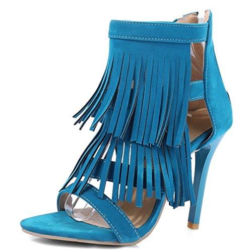 TAOFFEN Mujer Sandalias Moda punta abierta Cremallera Tacon Alto Zapatos De Borlas Azul