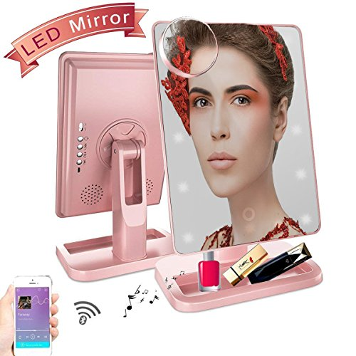Hansong Makeup Mirror with Lights/Vanity Mirror, 20 LED Lights Cosmetic Mirror with USB Chargeable,Wireless Audio Speakers,Removable 10X Magnifying,180° Rotation Vanity Mirror with Lights(Rose Gold) (Lite Recharge)