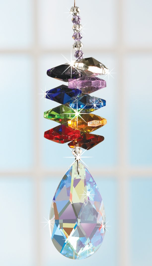 Crystal Rainbow Maker - Aurora Borealis Suncatcher with Large Faceted Pendant by The Paragon