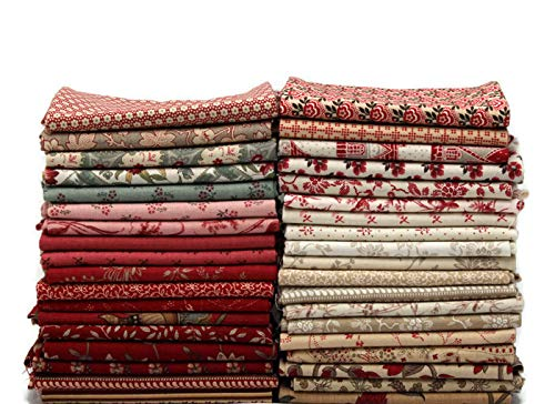 Field's Fabrics 10 Fat Quarters - Assorted Moda French General France Calico Floral Flowers Red Pink Blue Cream Classic Reproduction Quality Quilters Cotton Fat Quarter Bundle M229.01 (French Quarter-shops)