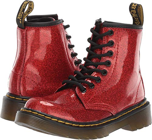 Dr. Martens Kid's Collection Unisex 1460 Glitter Stars Delaney Boot (Little Kid/Big Kid) Red Glitter Stars Pu 2 M UK -