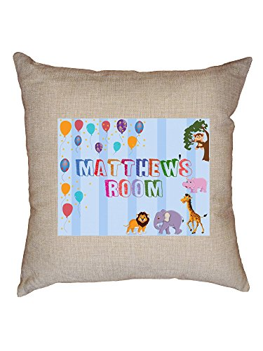Hollywood Thread Matthew's Room - Boy Birthday Gift - Balloons & Animals Decorative Linen Throw Cushion Pillow Case with Insert