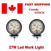 Topcarlight 1 Pair 27w Round Spot Beam Led work Light Bar for Offroad SUV ATV Boat 4WD Truck Vehicle Car Jeep(2PCS)