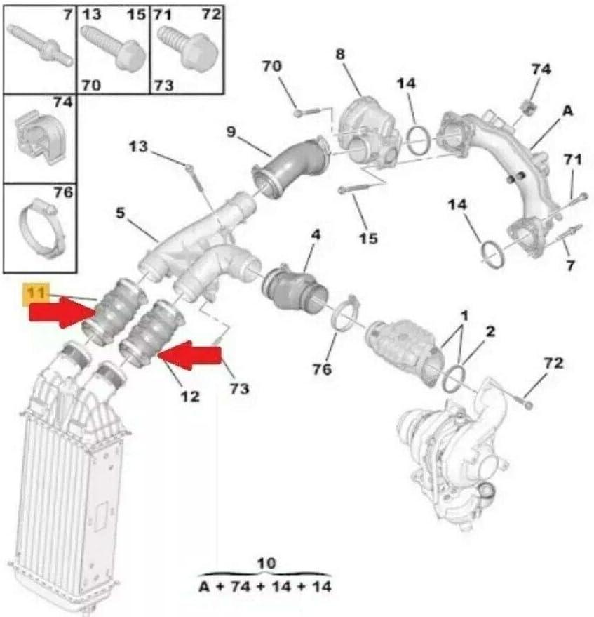 Turboschlauch Ladeluftschlauch BERLINGO C4 AIRCROSS PEU.GEOT 0382NN