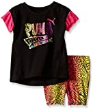 PUMA Baby Girls Top and Biker Short Set, Black, 12M