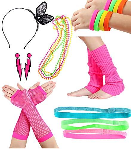 Smile Fish Women's 80s Costume Outfit Accessories Neon Earrings Leg Warmers Gloves Headband Bracelets (1#Rose)