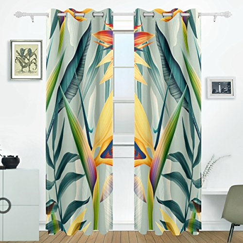 JSTEL Tropical Flower Plant And Leaf Curtains Drapes Panels Darkening Blackout Grommet Room Divider for Patio Window Sliding Glass Door 55×84 Inches,Set of 2
