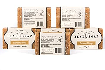 Bend Soap Company All Natural Goat Milk Soap – Paraben and GMO Free – Handmade in USA – Soothe Cracked Skin, Relax and Exfoliate – Overall Dry Skin Relief Oatmeal Honey, 6 Pack of 4.5oz Bars
