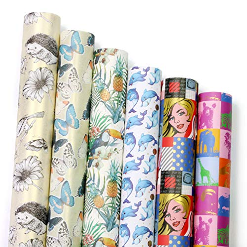 UNIQOOO Premium Assorted Gift Wrapping Paper 6 Designs 4 Sheets Each(24 PRE-Cut Sheets Total), Packaged into 3 Rolls, Pop Art Kimono Style,Sheet Size 27½ X17, Brush Gold Finished