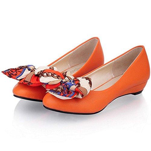 COOLCEPT Mujer Moda sin Cordones Bombas Zapatos con Dulce Encaje Bowknot Naranja