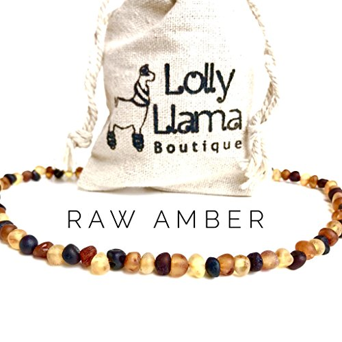 Lolly Llama Adult Raw Baroque Baltic Amber Necklace - All Natural Pain Relief for Adults to Help Migraines, Sinus, Arthritis and More! - Multi-Stone ... (18 Inches)