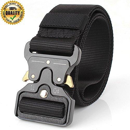 Men's Tactical Belt Male Heavy Duty Webbing Belt Adjustable Military Quick-Release Metal Buckle Style Nylon Work Belts 1.7
