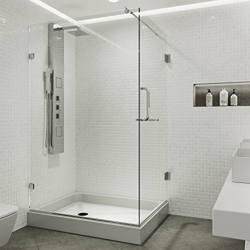 VIGO Pacifica 36 x 48-in. Frameless Shower Enclosure with .375-in. Clear Glass and Chrome Hardware (Right Base included) - Rectangle Shower Enclosures