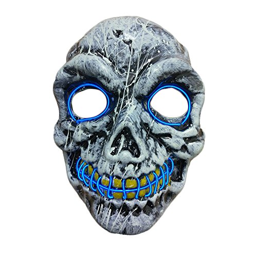 Dream Scary Halloween Mask for Adults, Horror Purge Mask with with Blue EL Wire for Adults Cosplay Costume, Light up Party Favors and Huanted House (Led Purge Light)