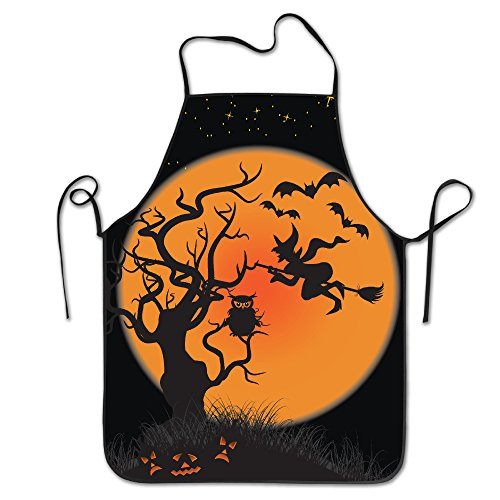 TE-REXQ Womens Halloween Witches Pumpkins Bats Owl Moon Kitchen Cooking Chef Baking Apron With Adjustable