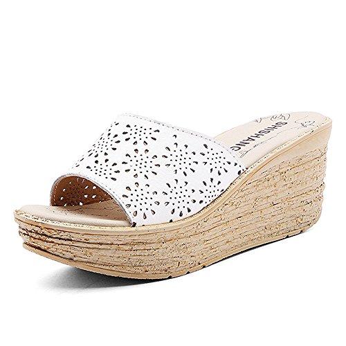 Enllerviid Kvinnor Öppen Tå Urholka Plattform Kilar Läder Glid Sandaler Vita