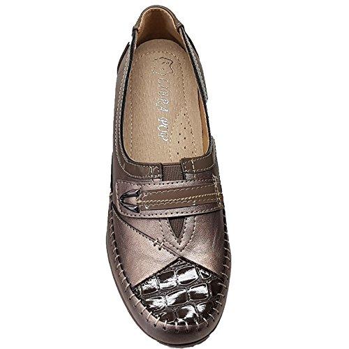 Lack Fantasia Kunstleder Metallic elastisch Niedrige Boutique Innensohle 5 Keile Grau gepolsterte Damen Croc UK qtgwxFtR