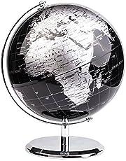 Exerz wereldbol - Engelse kaart - Educatieve/geografische/moderne bureaubladdecoratie - met een metalen voet - Metallic zwart - diameter:
