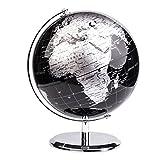 Exerz World Globe (Dia 8''/ 20cm) – Educational/Geographic/Modern Desktop Decoration - with a Metal Base - Metallic Black
