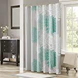 Aqua Curtains Comfort Spaces  Enya Shower Curtain  Aqua, Grey  Floral Printed- 72x72 inches
