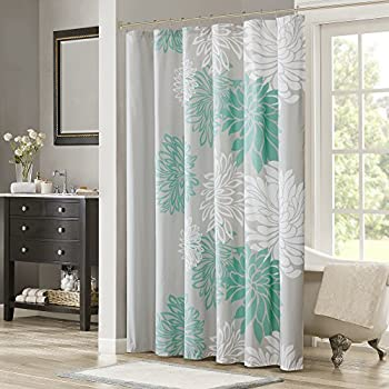 Comfort Spaces Enya Shower Curtain Aqua Grey Floral Printed 72x72 Inches