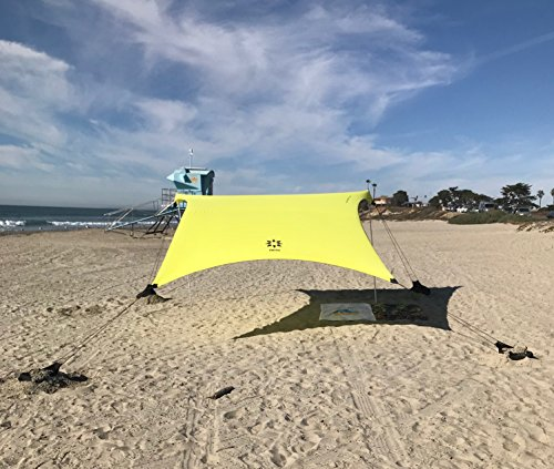 (Neso Tents Grande Beach Tent, 7ft Tall, 9 x 9ft, Reinforced Corners and Cooler Pocket(Lemon))