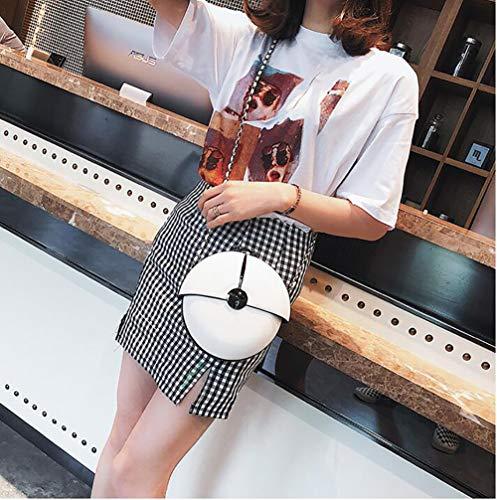 Crossbody Bag Round Splicing White Handbag Chain Leather Womenpu Mini Shoulder Shoulder Qiulv Tote ZgqU4n
