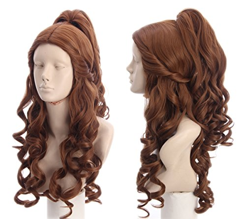 Topcosplay Womens Wigs Long Curly Brown Halloween Costume Party Cosplay Wig Wave with Ponytail