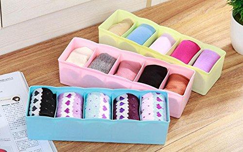 Hosaire Storage Box Multi-function Five Grid Plastic Underwear Sock Ties Separator Organizer Case Desk Drawer Closet Organizer ,Set of 3 Color by Hosaire (Image #5)