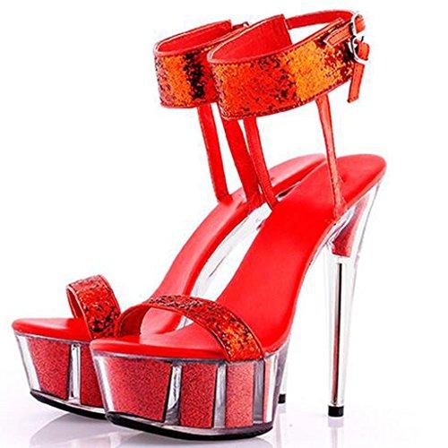 LLP Banquetes Altos Fondo Modelo Para Tacones Zapatos Plataforma Cristal Salón Zapatos Grueso Mujer Para Transparentes Sandalias de de Impermeable Red Zapatos Zapatos ZIrBwxqZ