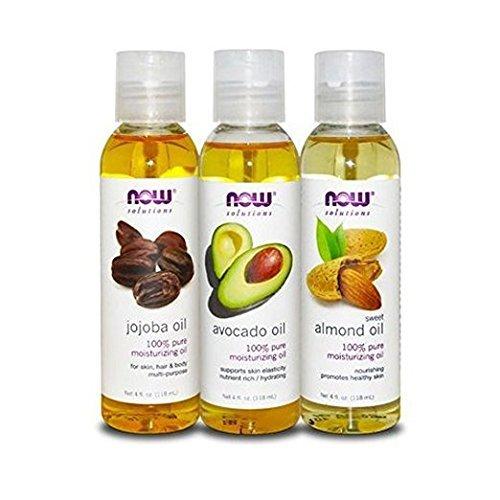 Now Foods Variety Moisturizing Oils Sampler: Sweet Almond, Avocado, and Jojoba Oils - 4oz. Bottles - Oil Foods Jojoba Now Pure