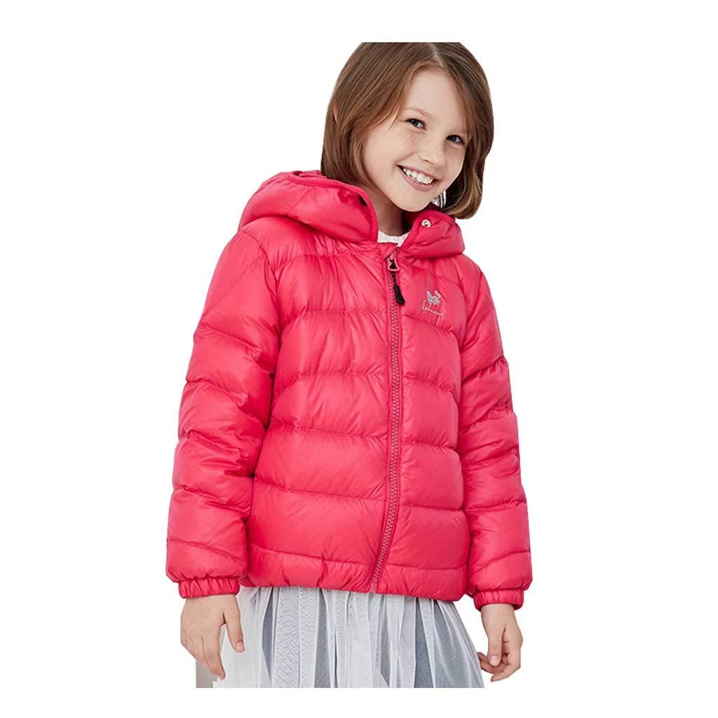 Peach rouge 160cm Veste Courte à Capuche coréenne en Duvet d'hiver pour Filles, Veste décontractée Ample