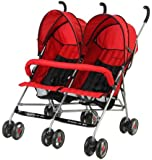 Dream On Me Double Twin Stroller, Red