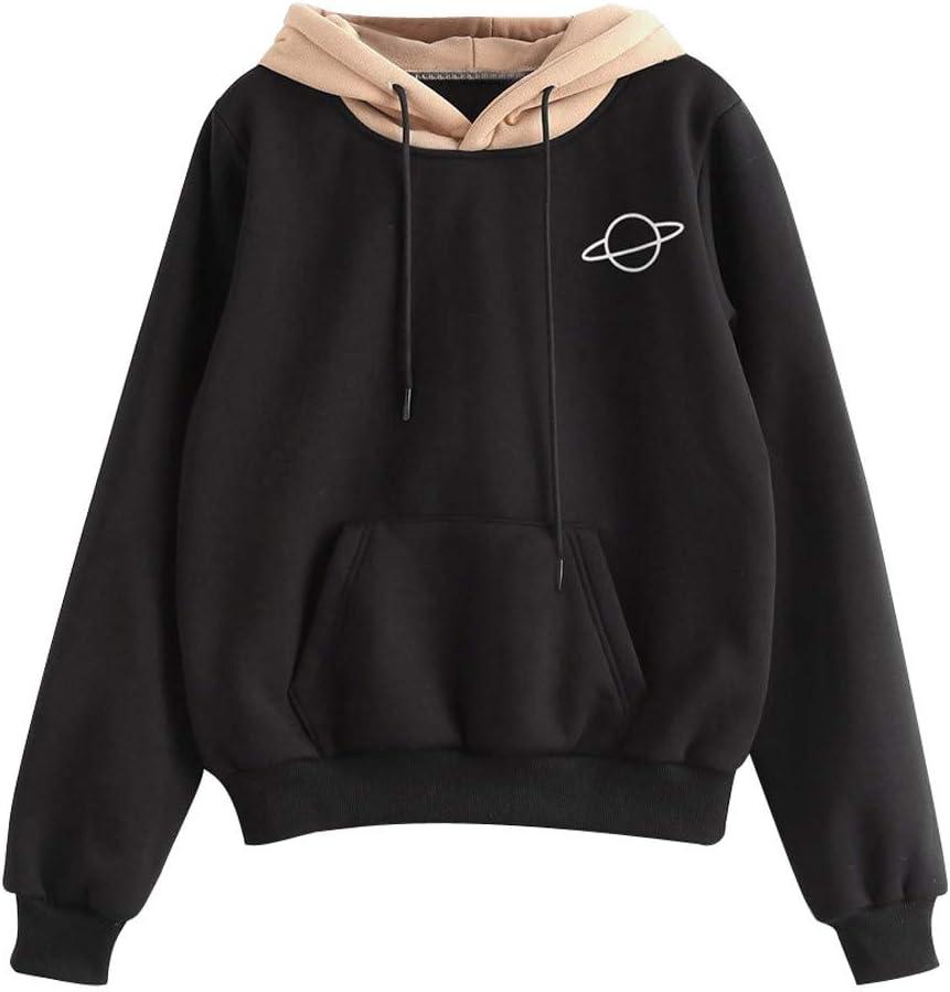 Bnisbm Hoodie Top Blouse For Women Casual Loose Long Sleeve Crop Top Pullover Sweatshirt Black (Black,S)