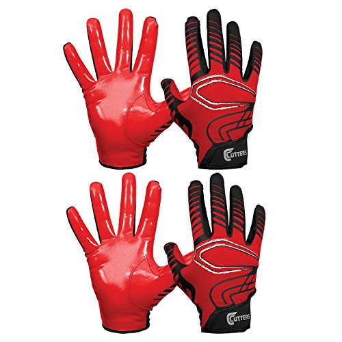Cutters Receiver Glove Football (Cutters Gloves REV Pro Receiver Glove (2 Pair) Red Large)