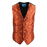 Epoint EGC2B04C-3XL Orange Paisley Microfiber Black-Back Dress Tuxedo Vest Best for Marriage by