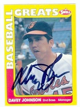 Davey Johnson autographed baseball card (Baltimore Orioles) 1990 Swell Baseball Greats No.46