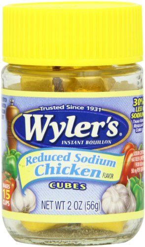 Wyler's Instant Bouillon, Reduced Sodium Chicken Cubes, 2 Ounce (Pack of 8)