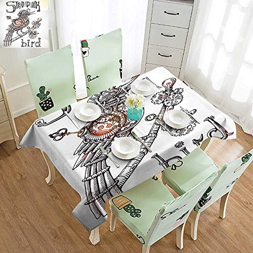 DILITECK Washable Table Cloth Surrealistic Steampunk Bird Mechanical Animal Modern Times Fiction Print Party W52 xL70 Coconut Seal Brown Yellow ()