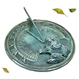 """Solid Brass Decorative Frog Sundial 7"""" Inches Wide - TB206"""